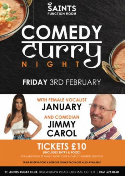 Comedy Curry Night at Saints Function Room 03.02.2017