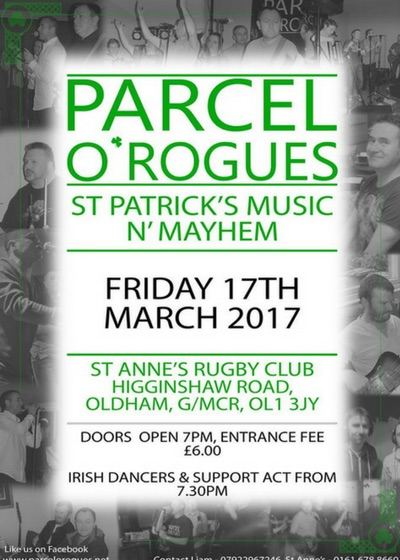 St Patricks Music Mayhem at Saints Function Room 17.03.2017